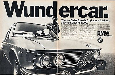 "1971 Bmw Bavaria 2.8 Sedan ""wundercar."" Non-Color Ad - Large Double Page - Usa"