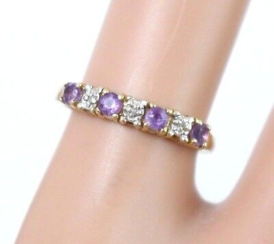 Vintage 10k Yellow Gold Amethyst and Diamond Band Ring