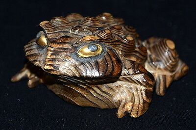 Vintage Signed Japan Cryptomeria Wooden Hand Carved Horny Frog/Toad Glass Eyes