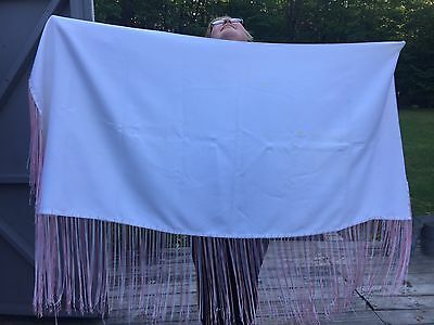 Native Dance Shawl White/pink