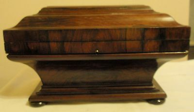 Early 19thC Rosewood Veneer Tea Caddy Rare Shape.