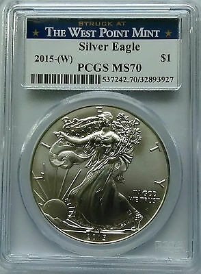 PCGS MS70 2015 (W) American SILVER EAGLE $1 Dollar Coin 1oz WEST POINT MINT USA*