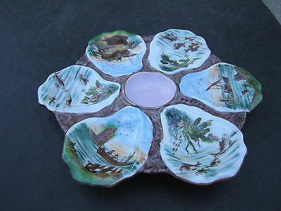 Orante Old Scenic Hand Painted Oceanic Scenes Decorated Ceramic Oyster Plate