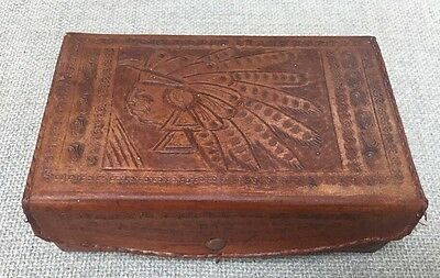 """Old Vintage Native Leather Tooled Headdress Jewelry Box 8"""" By 5"""" By 3"""""""