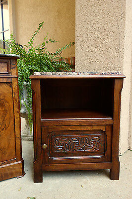 Antique French Carved Oak Nightstand End Table Cabinet w Marble French Country