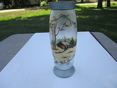 Old Antique Frosted Bristol Glass Hand Painted Cabin In The Wood Scenic Vase