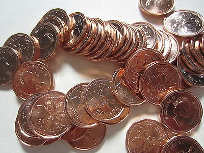 Roll of 1996 Canada Small Cents (UNC RED 50 Coins) (R101)