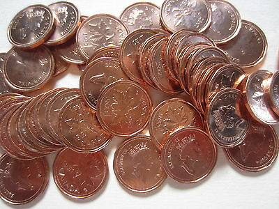 Roll of 1991 Canada Small Cents (UNC RED 50 Coins) (R99)
