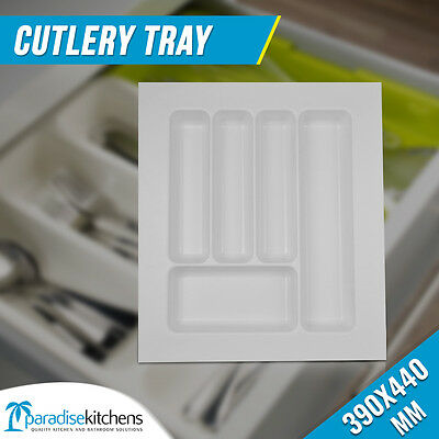 390x440mm White Cutlery Tray for Kitchen Drawer under benchtop knife fork