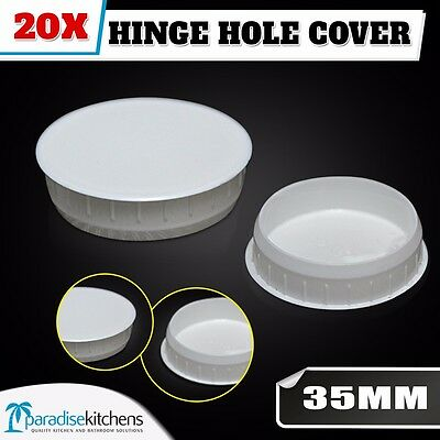 20x white hinge hole cover for kitchen vanity laundry cabinet cupboard door
