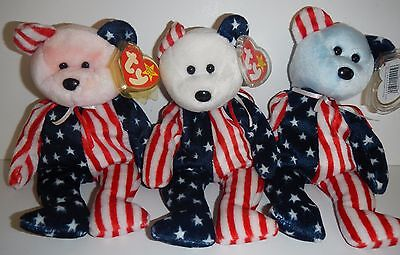 TY Beanie Babies SPANGLE Pink White & Blue Face 2004 Bear Retired
