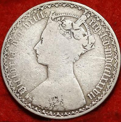 1887 Great Britain Florin Silver Foreign Coin Free S/H