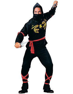Deluxe Black Red Gold Fierce Ninja Gi Adult Mens Halloween Costume Outfit