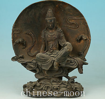 Blessing Chinese Old Bronze Handmade Carved Kwan-yin Statue