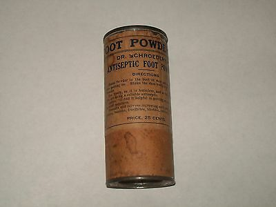 DR SCHROEDER'S-Foot-Powder-Container-Tin-Top-Contents-25c-American Can Co-1889