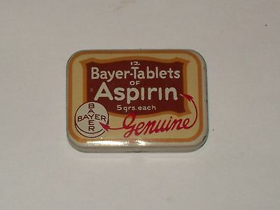 Vintage-Advertising-Medicine-Tin-BAYER-Tablets-of-ASPIRIN-Empty-Old