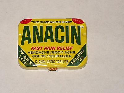 Vintage-Advertising-Medicine-Tin-ANACIN-Aspirin-Tablets-Full-Paper Insert-1986