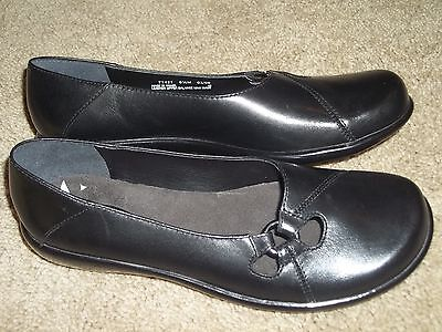6.5 CLARKS Black Leather Oxford Loafers Ballet Flats Walking Dress Shoes 71421