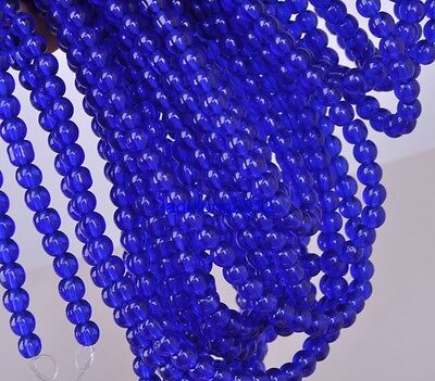 100pcs 4mm Sapphire blue Charm Glass Round Spacer Beads Fit Bracelets Necklaces