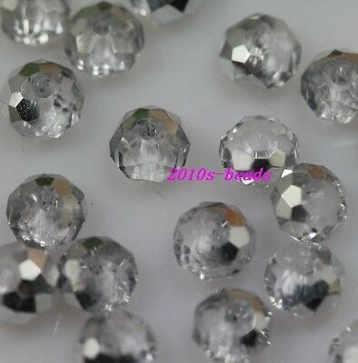 Wholesale 100pc half white AB4x3mm glass crystal beads