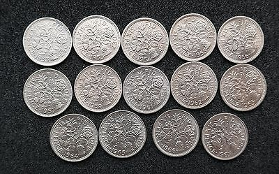 Elizabeth Sixpences - 1953 to 1970 choose your date (Bright Uncirculated)