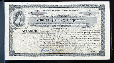 Rare 1912 Viboras Mining Corporation Stock Certificate Interim Receipt  BL972