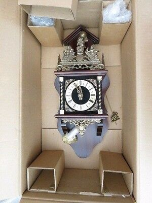 Vintage Boxed New Old Stock Dutch Zaanse Weight Driven Wall Clock