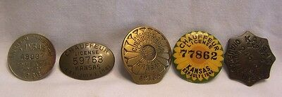 1930's-1940's Kansas Chauffeur's Badge Collection Set of 5 1938-1947