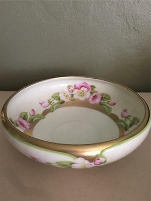 Antique P. L.  Bavaria Hand Painted Bowl Dish - Handpainted Gold And Wood Roses