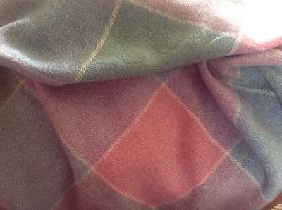 LARGE WELSH HOLYTEX ALL WOOL BLANKET IN SOFT MUTED SHADES Vintage