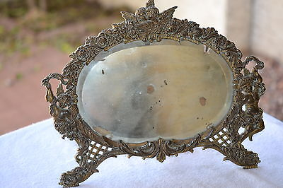 Antique Metal Framed Mirror, Easel Type,  Nb&iw  National Brass