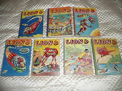COLLECTION of 7 early LION  ANNUALS from 1954 to 1960 ( fantastic condition )