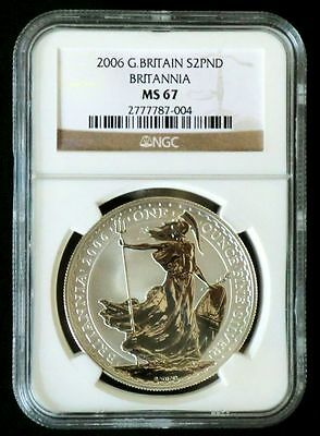 Britannia 2006 UK 2 Pfund £2 Great Britain Silber ST / BU NGC MS 67 - selten!!