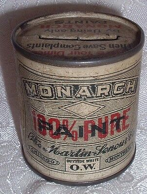 Antique advertising Promotional Coin Bank MONARCH Martin senour paint Can