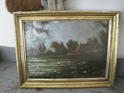 Signed 1935 Oil Painting in Old Gold Gilded Frame Sailboats Houses Water AAFA