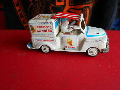 Vintage Yoshina Japan KO Tin Toy Bump-n-Go Good Flavor Ice Cream Truck