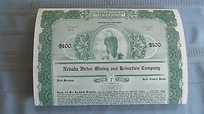 1914 Nevada Victor Mining & Reduction Company $100 Gold Bond-Gold Coin Coupons