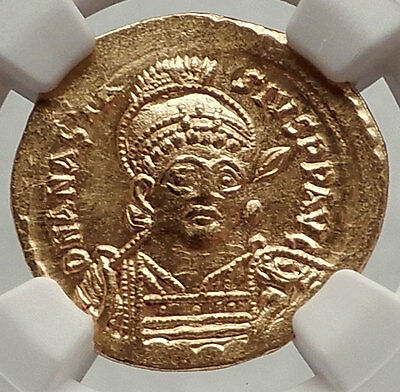 ANASTASIUS 491AD Authentic Ancient Byzantine GOLD Solidus Coin - NGC MS - i62468