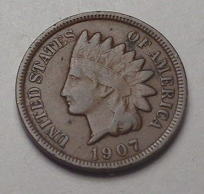 1907 Indian Head Cent,most Of Liberty,nice Coin!!!(H)