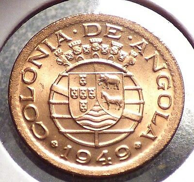 Angola 10 Centavos 1949, XF Coin, Portuguese Colony Issue, KM 70