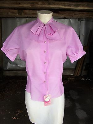1950's Pink Short Sleeve Blouse * NOSWT * Extra Small
