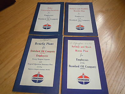 1948 STANDARD OIL (INDIANA) 4 different BENEFIT PLAN BOOKS STOCK/SICKNESS / ETC.