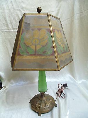 Original Antique Arts Crafts Jadeite Glass Table Lamp Painted Wire Mesh Shade