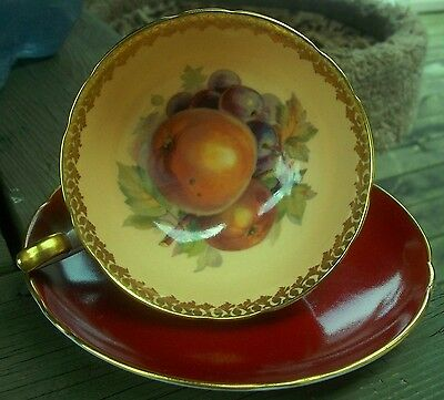 SHELLEY Magenta Red Wide Mouth Orchard Fruit Cup and Saucer Post Deco Era