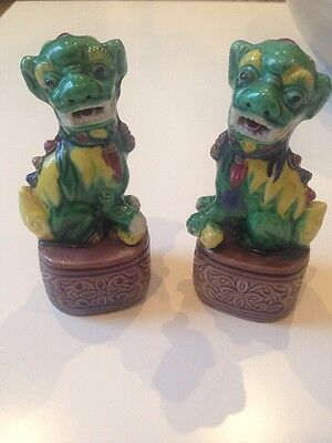 FOO DOGS , A Pair Of Rare Green Chinese Foe Dog