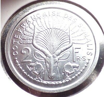 French Somaliland 2 Francs 1959, AU Coin w/ Waterbuck, Antelope, KM 10