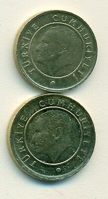 2 DIFFERENT COINS from TURKEY - 5 & 10 KURUS (BOTH DATING 2013)
