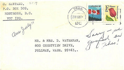 1991 Trail, BC, Canada Cancel on a Cover Franked with Canada and U.S.A. Stamps ~