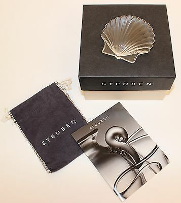 Steuben Scalloped Clam Shell Paperweight Mint In Original Box!