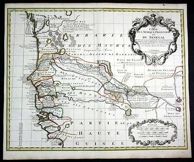 ca. 1730 Senegal Gambia West Africa map Karte Covens Mortier engraving